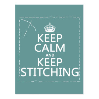 Keep Calm and Keep Stitching (all colors) Post Cards