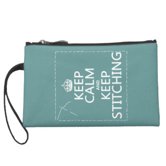Keep Calm and Keep Stitching (all colors) Suede Wristlet Wallet