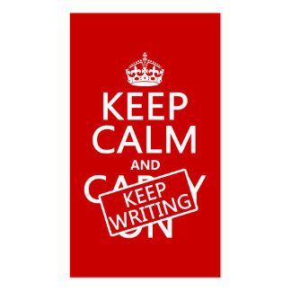 Keep Calm and Keep Writing Business Card Template