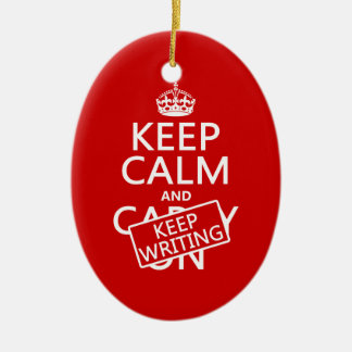 Keep Calm and Keep Writing Ceramic Ornament
