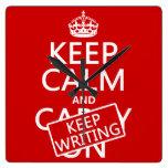 Keep Calm and Keep Writing Square Wall Clock