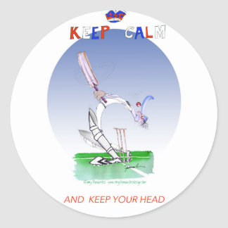 keep calm and keep your head, tony fernandes classic round sticker
