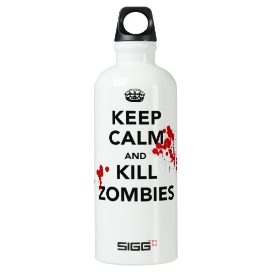 keep calm and kill zombies aluminum water bottle