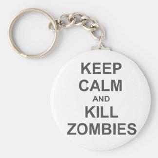 Keep Calm and Kill Zombies black blue gray Key Chain