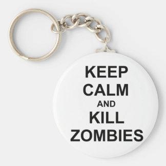 Keep Calm and Kill Zombies black blue gray Key Chains