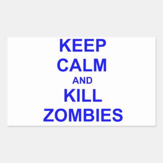 Keep Calm and Kill Zombies black blue gray Rectangular Sticker