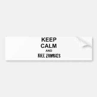 Keep Calm and Kill Zombies cracked black Bumper Sticker