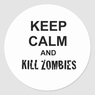 Keep Calm and Kill Zombies cracked black Classic Round Sticker