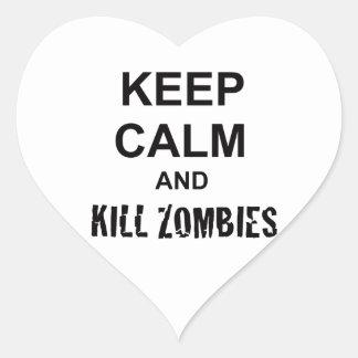 Keep Calm and Kill Zombies cracked black Heart Sticker