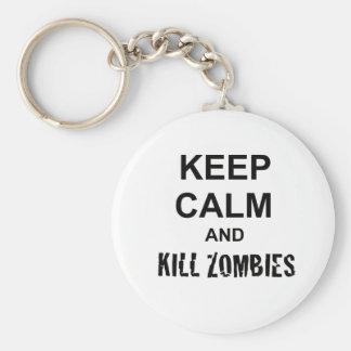 Keep Calm and Kill Zombies cracked black Keychain