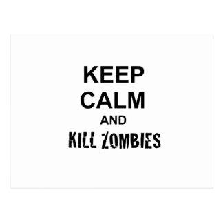 Keep Calm and Kill Zombies cracked black Postcard