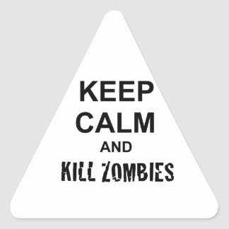 Keep Calm and Kill Zombies cracked black Triangle Sticker