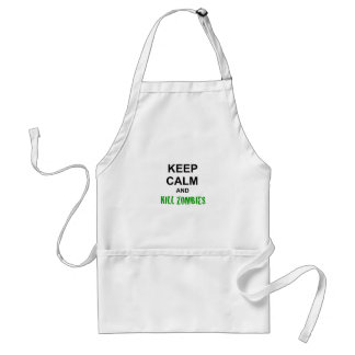 Keep Calm and Kill Zombies cracked green Adult Apron