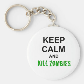 Keep Calm and Kill Zombies cracked green Keychains