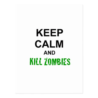 Keep Calm and Kill Zombies cracked green Post Card