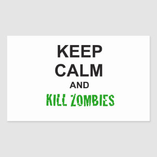 Keep Calm and Kill Zombies cracked green Rectangular Sticker