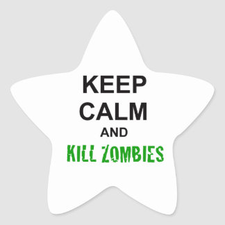 Keep Calm and Kill Zombies cracked green Star Sticker