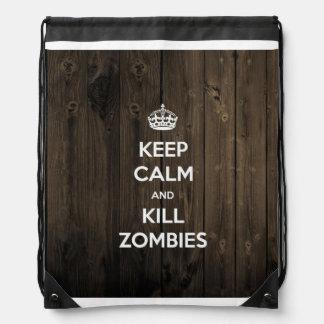 Keep calm and kill zombies drawstring backpack