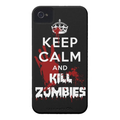 Keep Calm And Kill Zombies iPhone 4 4S Black Case Case-Mate iPhone 4 Cases