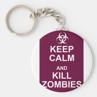 keep calm and kill zombies keychain