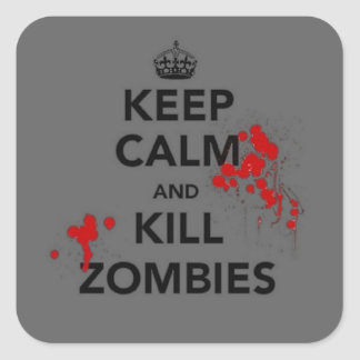 keep calm and kill zombies mouse pad square sticker