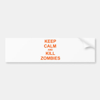 Keep Calm and Kill Zombies orange pink red Bumper Sticker