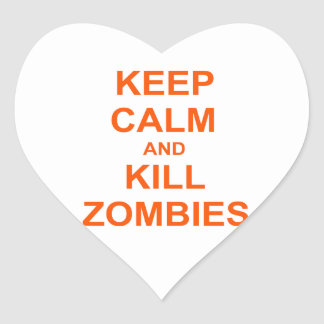 Keep Calm and Kill Zombies orange pink red Heart Sticker