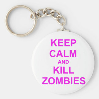 Keep Calm and Kill Zombies orange pink red Key Chains
