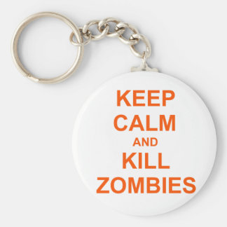 Keep Calm and Kill Zombies orange pink red Keychain