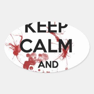 Keep Calm and Kill Zombies Oval Sticker