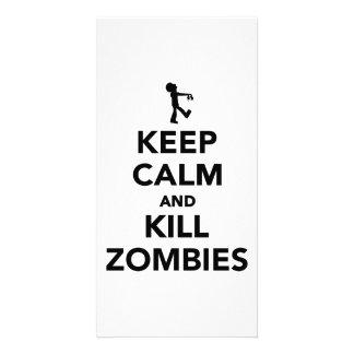 Keep calm and kill zombies custom photo card