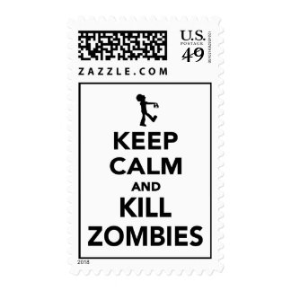 Keep calm and kill zombies stamps