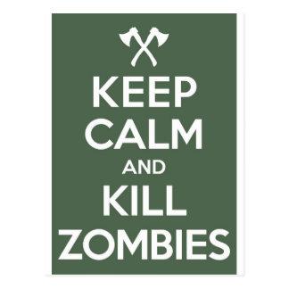 Keep Calm and Kill Zombies Postcard