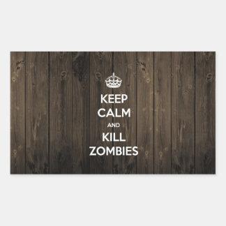 Keep calm and kill zombies rectangular sticker