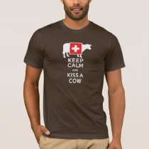 Keep Calm and Kiss a Cow Funny Swiss T-Shirt