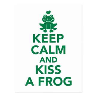 Keep calm and kiss a frog post cards