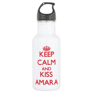 Keep Calm and Kiss Amara 18oz Water Bottle