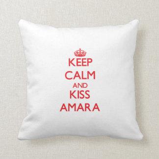 Keep Calm and Kiss Amara Throw Pillows