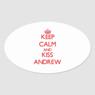 Keep Calm and Kiss Andrew Oval Sticker