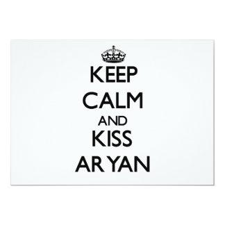 "Keep Calm and Kiss Aryan 5"" X 7"" Invitation Card"