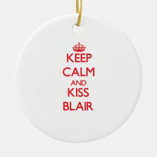 Keep Calm and Kiss Blair Christmas Ornament