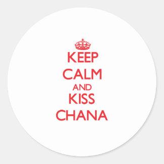 Keep Calm and Kiss Chana Classic Round Sticker