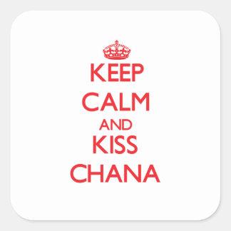 Keep Calm and Kiss Chana Square Sticker
