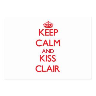 Keep Calm and Kiss Clair Business Card Templates