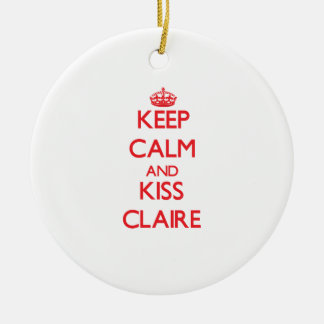 Keep Calm and kiss Claire Double-Sided Ceramic Round Christmas Ornament