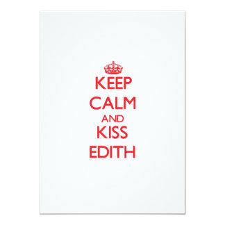 Keep Calm and kiss Edith 5x7 Paper Invitation Card