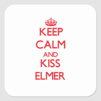 Keep Calm and Kiss Elmer Square Stickers