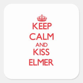 Keep Calm and Kiss Elmer Square Sticker