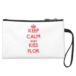Keep Calm and kiss Flor Wristlet Clutch