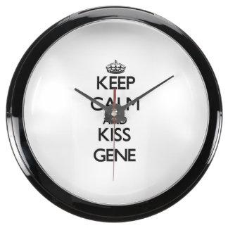 Keep Calm and Kiss Gene Aquarium Clock